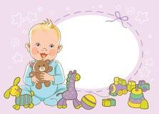 Menino com brinquedos Molde do convite Vetor, ilustração cumprimento Fotografia de Stock Royalty Free