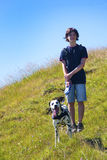 Menino com cão Fotografia de Stock Royalty Free