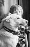 Menino com cão Imagem de Stock Royalty Free