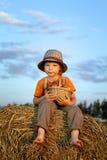 Menino com a cesta dos bolos Foto de Stock