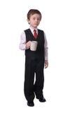 Menino com copo de café Imagens de Stock