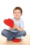 Menino com coração grande Foto de Stock