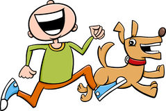 Menino com desenhos animados do cachorrinho Imagens de Stock Royalty Free