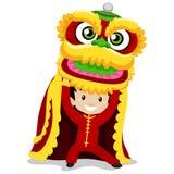 Menino com Dragon Dancing ilustração stock