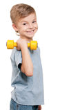 Menino com dumbbells Fotos de Stock Royalty Free