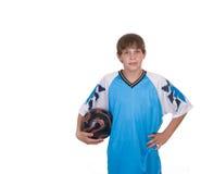 Menino com esfera de futebol Foto de Stock Royalty Free