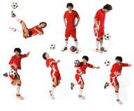 Menino com esfera de futebol, jogador de futebol Imagens de Stock