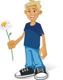 Menino com flor ilustração do vetor