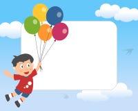 Menino com frame da foto dos balões Imagem de Stock
