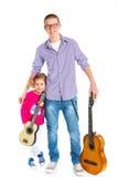 Menino com a guitarra espanhola clássica Imagem de Stock