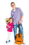Menino com a guitarra espanhola clássica Imagens de Stock Royalty Free