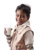 Menino com leite Fotos de Stock
