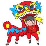 Menino com Lion Dancing Traditional Celebration China ilustração royalty free
