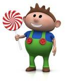 Menino com lollipop ilustração stock