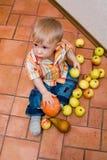 Menino com maçãs Imagens de Stock Royalty Free