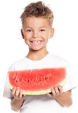 Menino com melancia Imagem de Stock
