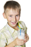 Menino com milkshake Imagem de Stock