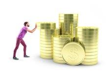 Menino com moedas fotografia de stock royalty free