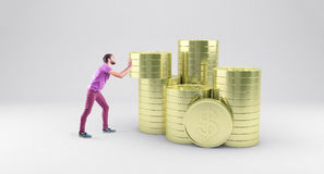 Menino com moedas ilustração do vetor