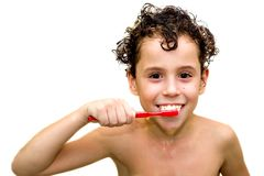 Menino com o toothbrush (isolado) Foto de Stock Royalty Free