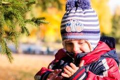 Menino com olhos azuis perto da árvore de Natal Fotografia de Stock Royalty Free