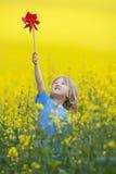 Menino com pinwheel fotografia de stock