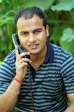 Menino com receptor de telefone fotografia de stock