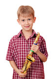 Menino com saxofone Imagem de Stock
