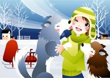 Menino com seu cão ronco Imagem de Stock