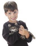 Menino com seu gatinho Imagem de Stock Royalty Free