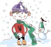 Menino com snowball Foto de Stock Royalty Free