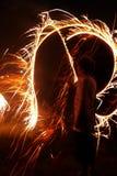 Menino com Sparklers Fotografia de Stock