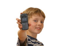 Menino com telefone de pilha Imagens de Stock Royalty Free