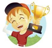 Menino com troféu Foto de Stock