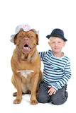 Menino com um cão fêmea Fotografia de Stock Royalty Free