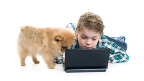 Menino com um portátil e um cachorrinho foto de stock royalty free