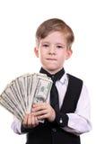 Menino como um banqueiro Fotos de Stock