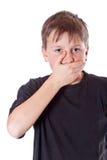 Menino com uma boca fechado Imagem de Stock Royalty Free