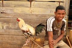 Menino com uma galinha Fotos de Stock