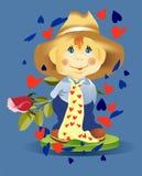 Menino com uma rosa Imagens de Stock Royalty Free