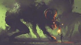 Menino com uma tocha que enfrenta monstro do fumo ilustração stock