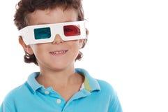 Menino com vidros 3D Fotografia de Stock