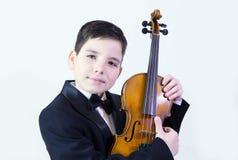 Menino com violino imagem de stock