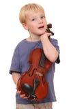 Menino com violino imagens de stock