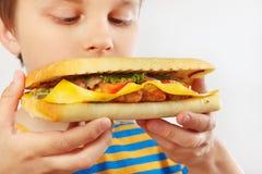 Menino cortado novo com um cheeseburger saboroso no fim branco do fundo acima foto de stock