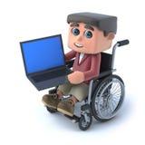 menino 3d na cadeira de rodas usando um PC do portátil Fotografia de Stock