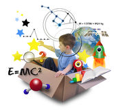 Menino da ciência na caixa do espaço com estrelas