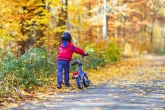 Menino da criança com a bicicleta na floresta do outono Foto de Stock Royalty Free