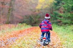 Menino da criança com a bicicleta na floresta do outono Fotos de Stock Royalty Free