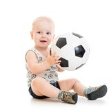 Menino da criança com bola do pé imagem de stock royalty free